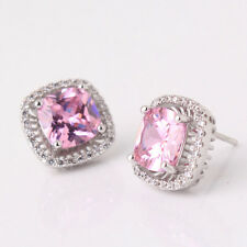 HUCHE Lovely Pink Sapphire Mated Diamond Crystal Silvery Women Earrings Studs