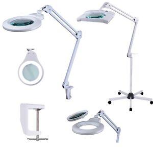 Komerci KML LED Lupenleuchte Lupenlampe mit Dimmer Stativ 3D 5D Linse Rollstativ