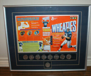 Framed Peyton MAnning Wheaties Box with 1996 General Mills Olympic coins