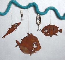 Rostige Fische 3er Set Edelrost Deko zum Hängen Gartendeko Rost Anhänger