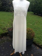 VINTAGE NIGHTDRESS ST MICHAEL MARKS&SPENCER~GUIPURE LACE +PLEATS~CREAM~SIZE 10L