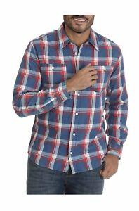 WRANGLER Men's Long Sleeve Slim Fit Plaid Shirt Flex For Comfort NEW