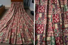"Huge Vintage Textra Curtains Rare 'Patchwork' Print In Red & Green 74W x 108"" L"