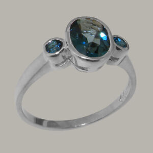 Solid 925 Sterling Silver Natural London Blue Topaz Womens Trilogy Ring