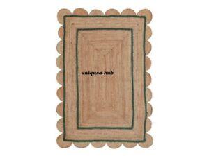 Rug 100% Natural Jute hand Breided Style bohimen scallop Rug Area Carpet Rag Rug