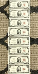 1963 $2 2 Dollar Red Seal Consecutive Numbers Notes - x8 Notes - CRISP