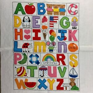 Childrens Alphabet completed finished cross stitch 18ct Aida colorful kids room