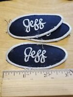 """/""""JEFF/"""" Blue Oval Name Patch Embroidered Used Uniform Shop Name Patch Sew-On"""