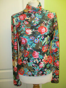 SIZE 10-12 WOMENS SLINKY STRETCHY FLORAL POLO NECK TOP BY MONKL