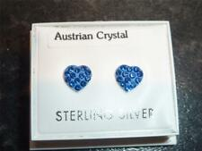 Sterling Silver & Sapphire Blue  CZ Crystal Heart Stud Earring  NEW in Gift Box