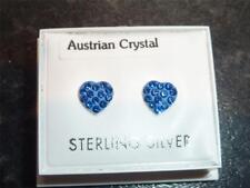 Plata Esterlina & Azul Zafiro Cz Cristal Corazón Stud Earring Nuevo en Caja De Regalo