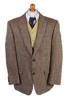 "Vintage Harris Tweed Blazer Jacket Classic Windowpane Chest 46"" Brown - HT2861"