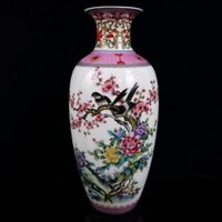 Chinese old porcelain Pastel flowers and birds pattern vase