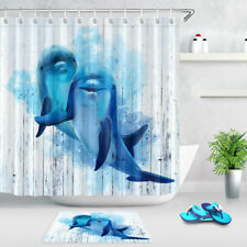 Blue Dolphins Painted White Wood Planks Fabric Shower Curtain Set Bathroom Decor