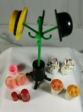 LOT OF 5 VINTAGE - HAT RACK -MINIATURE  CERAMIC FLOWER SALT AND PEPPER SHAKERS