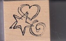 """star heart swirl magenta Wood Mounted Rubber Stamp 1 x 1""""  Free Shipping"""