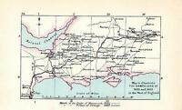 Victoriano Mapa ~ Oeste De Inglaterra Campaigns 1685 & 1688