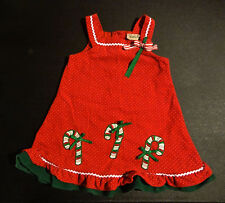Rare Too! Girl's Red and White Polka Dot Corduroy Christmas Dress-Candy Canes 4T