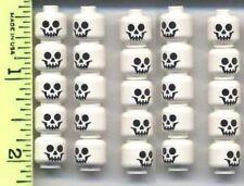 LEGO x 25 White Minifig, Head Skull Standard Pattern NEW skeleton graveyard