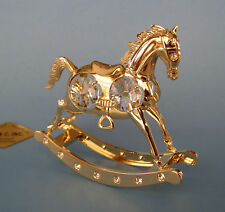 "SWAROVSKI CRYSTAL ELEMENTS ""ROCKING HORSE"" FIGURINE-ORNAMENT 24KT GOLD PLATED"