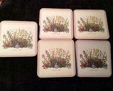 Vintage set of 5 Pimpernel coasters in Garden Herbs pattern