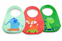 Silicone Bibs for Babies (3 Pk), BPA Free, w/Elephant, Dinosaur & Fox Designs