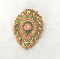 Vintage Pink Rose & Green Floral Brooch Pin & Pendant C. Mid Century