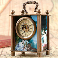 Antique Painted Hand Winding European Style Mechanical Desk Clocks Gift Box