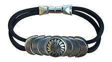"Indian Magnetic Leather Bracelet ""Protection"" Jewelry Black NEW S"
