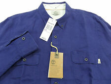 TIMBERLAND men's SLIM FIT LINEN CARGO SHIRT Roll-Up Long Sleeve Large