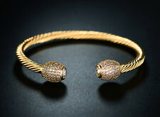Sevil 18K Gold Plated Open Cuff Bangle with Swarovski Elements