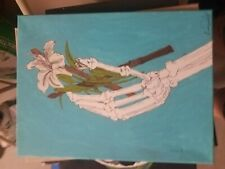 Painting skeleton hand drum stick drummer lily