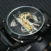 Golden Bridge Automatic Mechanical Men's Watches Luxury Skeleton Leather Strap