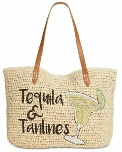 💯INC Tropical Straw Tote Large Beach Shoulder Bag - Beige or Blue - $39.5