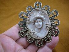 (CL66-5) Woman Gibson girl bun bow daisy mauve CAMEO Pin Pendant Jewelry brooch