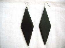 X-LARGE EBONY BLACK COLOR PAINTED WOOD POINTS TRIANGLE DIAMOND SHAPED EARRINGS