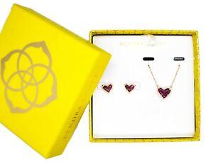 KENDRA SCOTT Gift Set Ari Heart Raspberry Labradorite Necklace + Stud Earrings