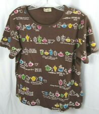 Cactus Brand Womens L Coffee Pattern Brown Short Sleeve 100% Cotton Blouse WL3
