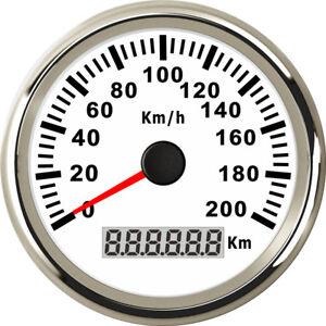 85mm White Stainless 200KM/H GPS Speedometer for Car Truck Motorcycle Marine UTV