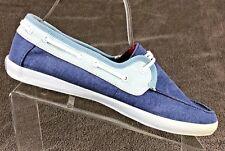 Vans Surf Siders Womens Canvas Boat Shoes Sz 9 Blue Denim Light Blue Pinstripe