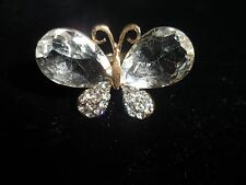 Adjustable Ring Butterfly Rhinestone Crystal Cluster Gold Tone Fashion Statement