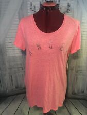 Victorias Secret Angel Bling Sequin Ruffle Sleeve Lounge T-Shirt Pink Size M NWT