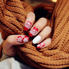 24pcs Red Christmas Snowflake 3D Short fake false nails tips sticker gule N3067