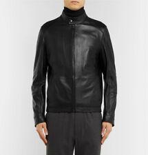 Hugo Boss Café Racer Jacket in Black Leather, size 52 - BNWT, RRP £525