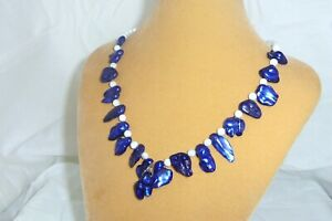 Cobalt blue baroque and round white pearl beads handmade necklace jewelry N178