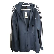 adidas full zip track top hoodie blue 4XL NWT three stripes