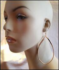 Teardrop Pave Crystal Dangle Hook Earrings Oversized Gold Acrylic 4� Thin Twist
