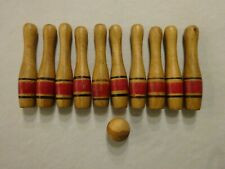 Vtg Child's All Wood 10 Pin Bowling Game With Ball Painted Stripes 11 Pieces