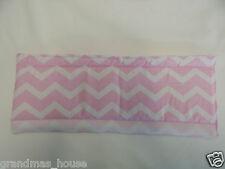 Baby Pram Stroller Front Handle Bumper Bar Cover - Baby Pink Chevron