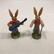 Vintage GDR Erzgebirge Hiker Bunny and Guitar Playing Bunny Rabbit Lot